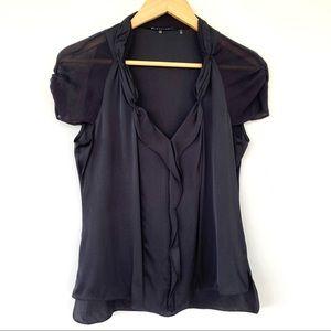 Ellie Tahari black silk top